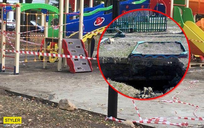 Під Києвом дитячий майданчик пішов під землю: подробиці інциденту (фото)