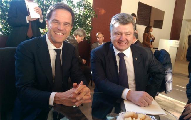Фото: президент Украины Петр Порошенко и премьер-министр Королевства Нидерланды Марк Рютте