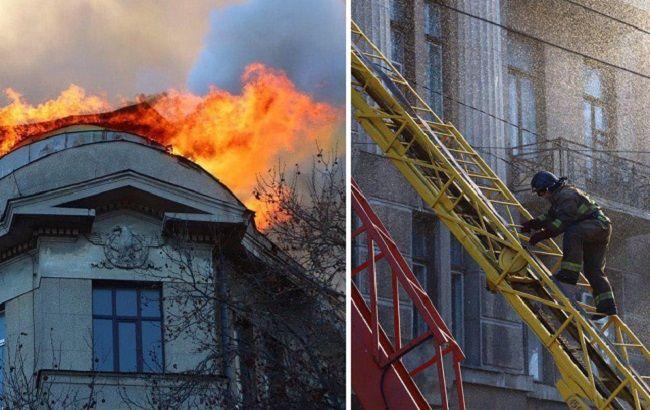 При пожаре в Одессе люди прыгали с пятого этажа: появилось видео