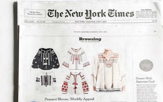 Издание The New York Times рекламирует украинскую вышиванку