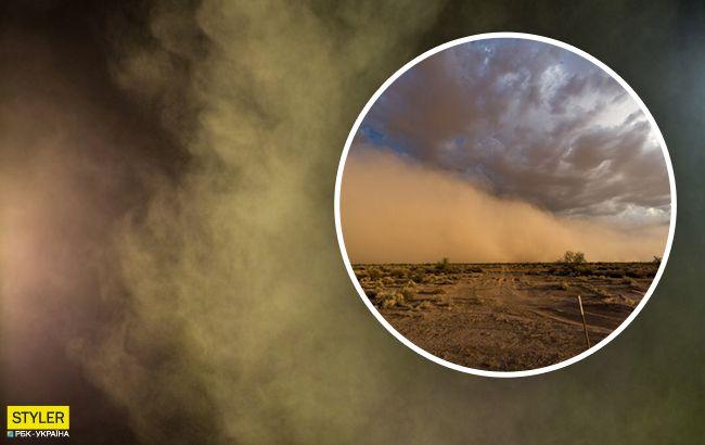 Под Харьковом водитель снял на видео пылевую бурю: обрушилась посреди дороги