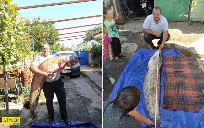 Украинец поймал гигантского сома: впечатляющие фото
