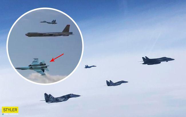 Всі в захваті від відео маневру літака ВСУ навколо бомбардувальників США. Але це фейк