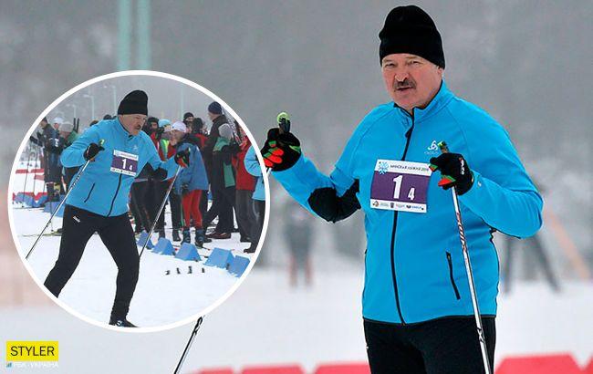 """Лукашенко """"молниеносно"""" победил в лыжной гонке, пока соперник """"случайно"""" падал"""