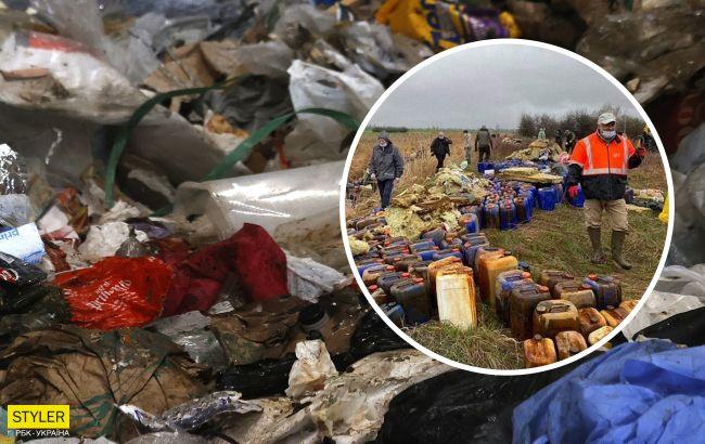 Под Киевом речку забросали канистрами с химикатами: фото и видео эко-катастрофы