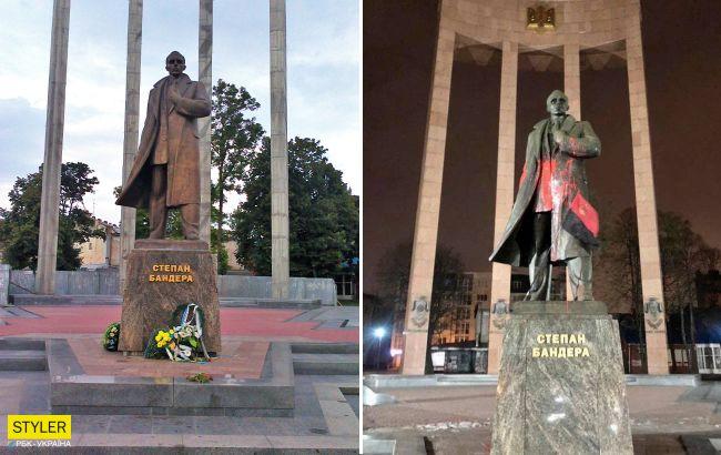 У Львові студент за тисячу гривень облив фарбою пам'ятник Бандері: як покарали вандала
