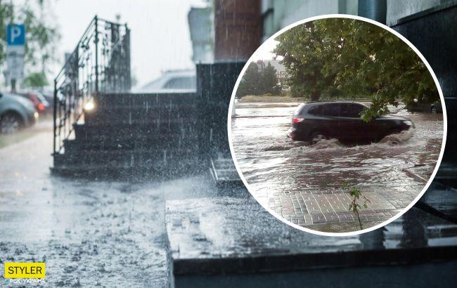 Мелітополь через дощ пішов під воду: затонула частина вулиць і АЗС (відео)