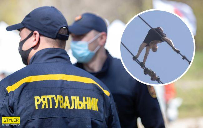 В Хмельницком мужчина прогулялся по тросам строительного крана на 40-метровой высоте (видео)