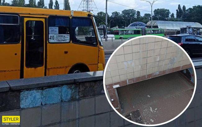 У Києві показали небезпечний підземний перехід біля метро (фото)
