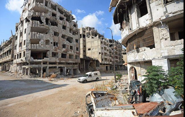 Фото: обстріл в Алеппо здійснювався з саморобних ракетних систем залпового вогню (РСЗВ)
