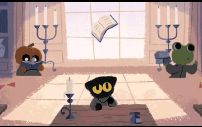 Фото: Главным героем дудла стал черный кот (скриншот)