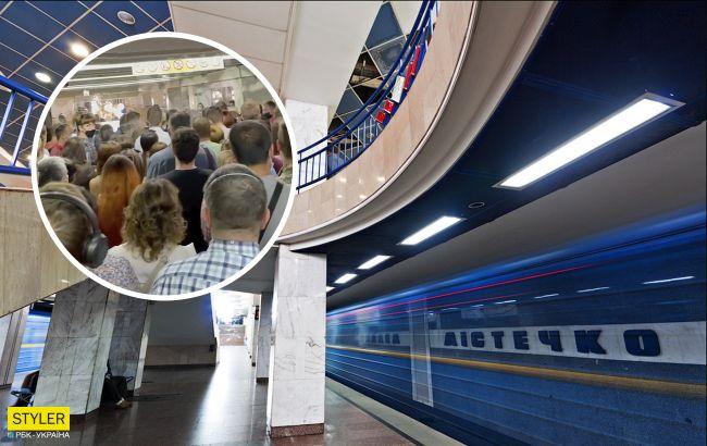 В киевском метро произошел коллапс: вчера потоп, сегодня - людской поток