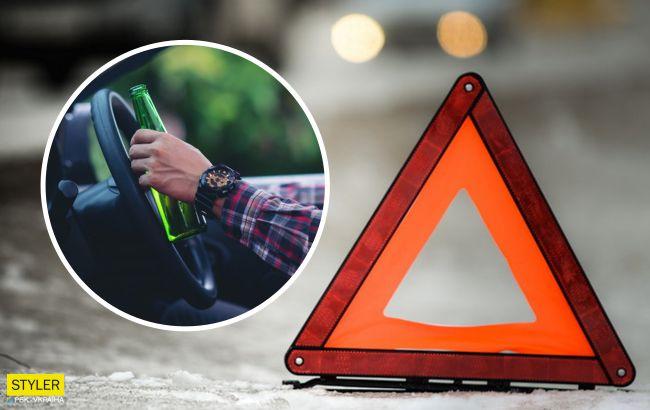 Під Львовом п'яний в непотріб водій врізався в сім'ю і намагався втекти