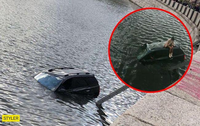 Одне питання: як? У Харкові іномарка загадково потрапила у річку (відео, фото)