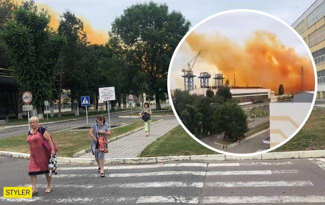 Авария на химзаводе под Ровно: в воздух поднялось оранжевое облако (видео)