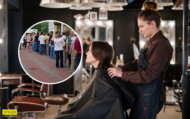 Украинцы массово бросились в парикмахерские: очереди на десятки метров