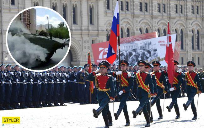 В Москве на параде опозорились новейшим БТР:вспыхнул у всех на глазах (видео)