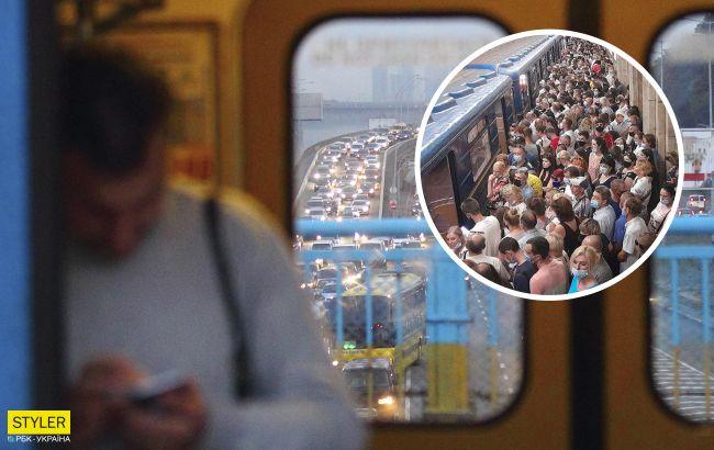 НП в метро Києва: поїзди зупинились, на станціях тиснява (фото)