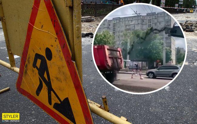 Ремонтники киевских дорог стали героями соцсетей, насыпав не туда (видео)