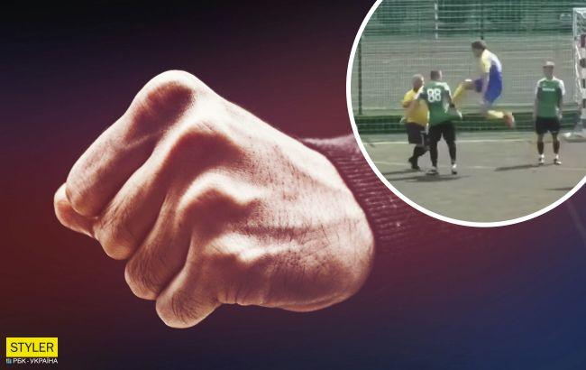В Харькове футболисты устроили жесткую драку во время матча (видео)