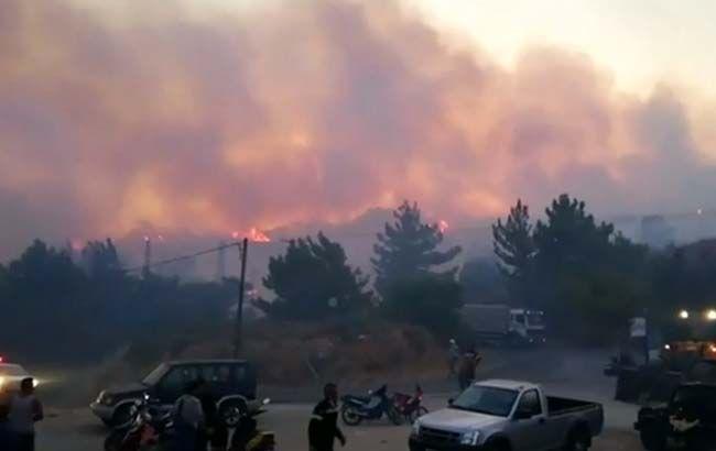 В Греции из-за масштабного лесного пожара эвакуировали сотни туристов