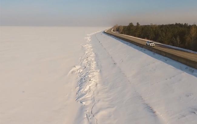 В сети показали заснеженное Киевское море с высоты птичьего полета