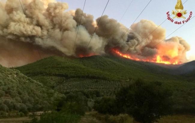 В Италии вспыхнул крупный лесной пожар, эвакуированы около 500 человек (фото, видео)