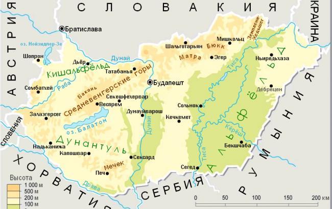 карта Угорщини