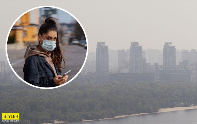 Людям важко дихати: передмістя Києва затягнуло коричневою димкою (відео)