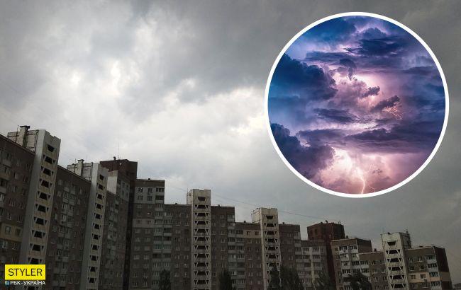 Апокалипсис в Киеве: буря срывает заборы и сносит рестораны (видео)