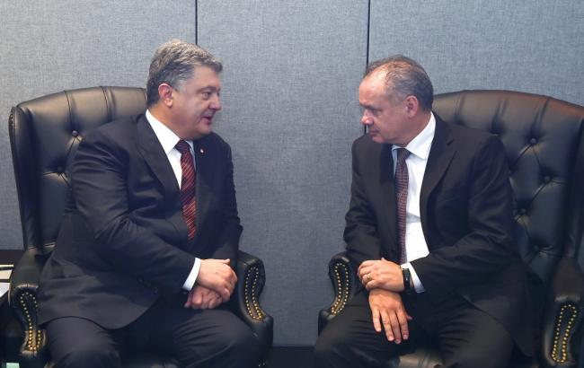 Президент Словакии уверил Порошенко вподдержке санкций против РФ