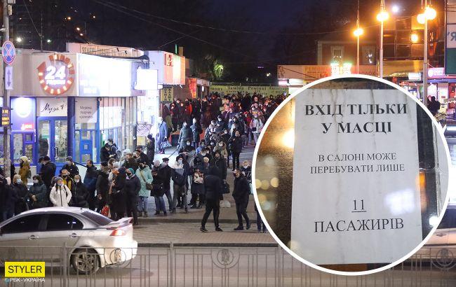 Транспортный коллапс: в Киеве образовались огромные очереди на маршрутки (фото)