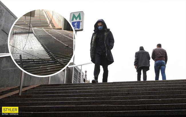 """ЧП возле метро """"Майдан Незалежности"""": людей спасло чудо (фото)"""