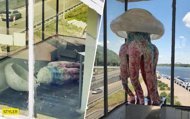 В метро Киева установили гигантскую медузу: скульптура не простояла и дня (фото)