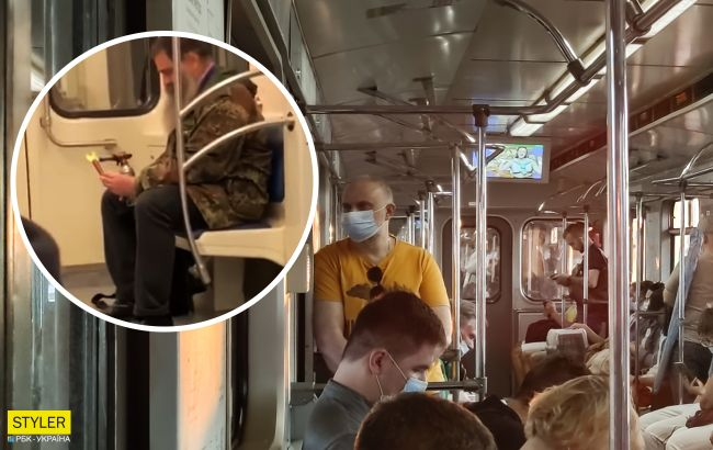 В столичной подземке мужчина достал газовый примус и жарил сосиску: видео выходки