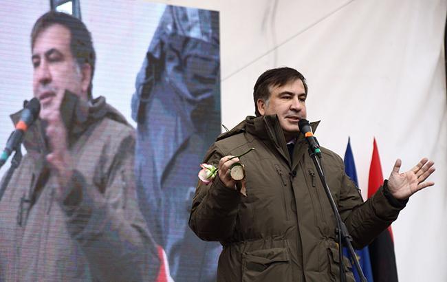 Фото: Михайло Саакашвілі на мітингу (РБК-Україна)