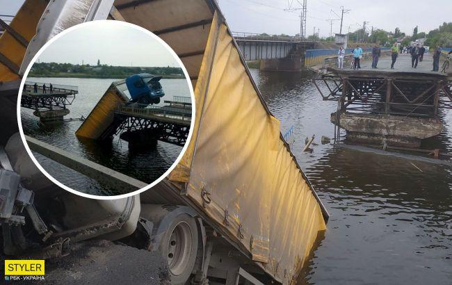 Під Дніпром обвалився міст із фурою: з'явилося відео моменту НП
