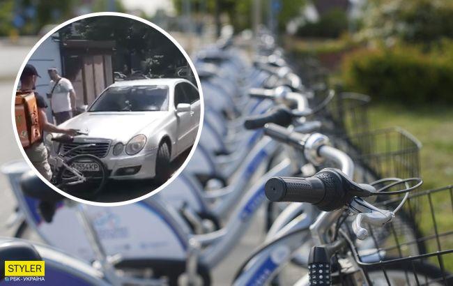 В Киеве женщина на Mercedes ездила по тротуару и сбила велосипедиста (видео)
