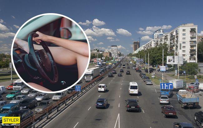 В Киеве девушка-водитель показывала всем педикюр во время езды (видео)