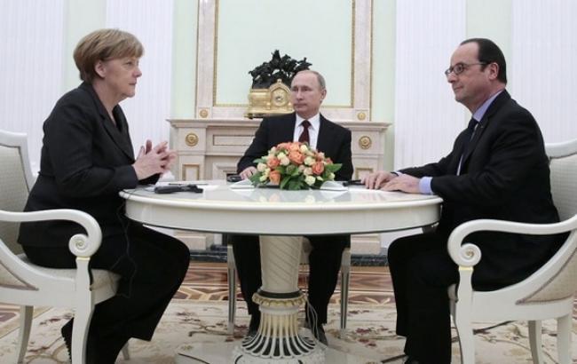 """Фото: Ангела Меркель, Франсуа Олланд і Володимир Путін обговорили можливість проведення зустрічі в """"нормандському форматі"""""""