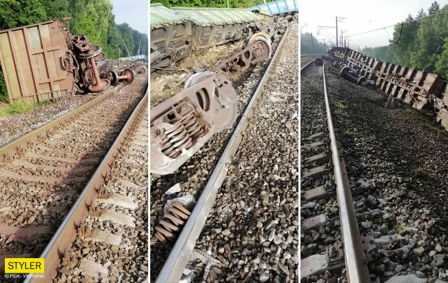 Під Львовом перекинувся поїзд: перші фото з місця аварії