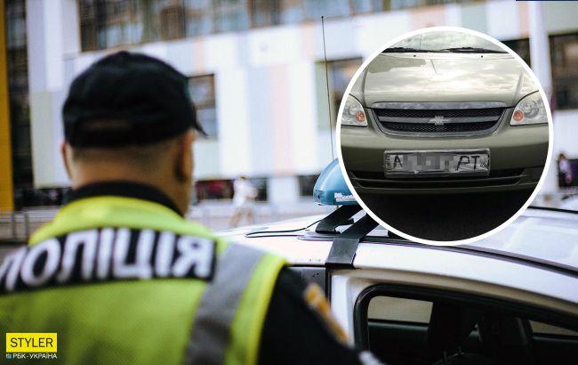 За Киевом поймали горе-водителя, который ехал с нарисованными маркером номерами (фото)