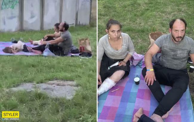 """В Киеве родители """"ловили приход"""" при ребенке (видео)"""