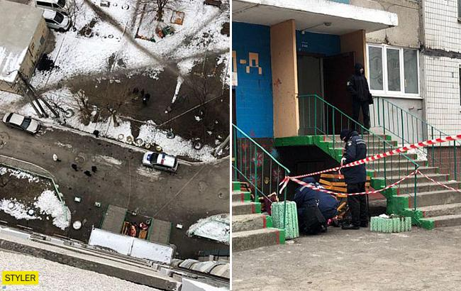 Женщина с малолетним сыном на руках выбросились из окна на 10 этаже (фото, видео)