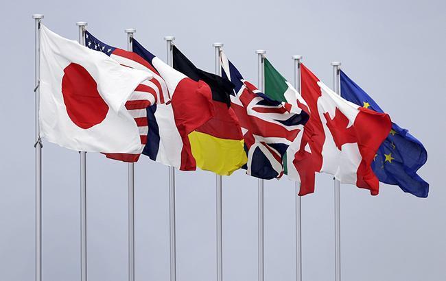 """Фото: прапори країн """"Великої сімки"""" (twitter.comMFA_Ukraine)"""