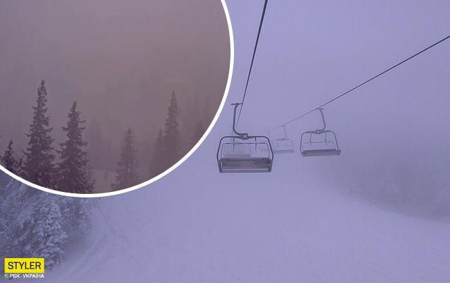 Популярный украинский курорт накрыл снежный шторм: жуткое видео