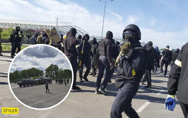 """Тітушки на БТР і погроми з постраждалими: на ринку """"Столичний"""" сталися сутички (відео)"""