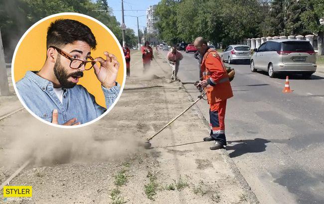 В Одесі підняли на сміх комунальників: косили невидиму траву (відео)