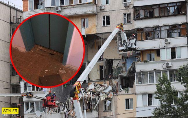 Пішли тріщини по стінах: сусіди будинку, що вибухнув у Києві бояться йти додому