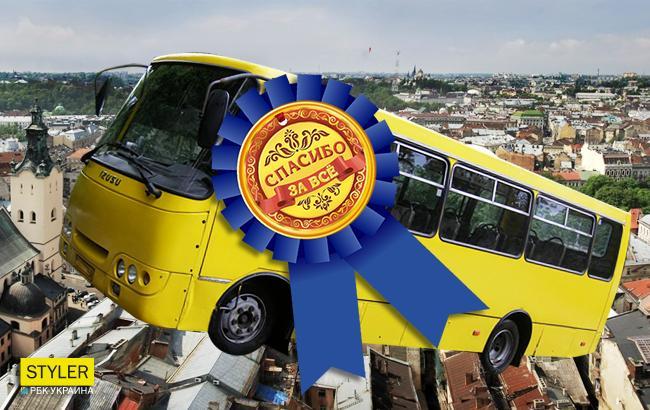 Фото: Львовяне предлагают сделать водителя Водителем года (Коллаж РБК-Украина)